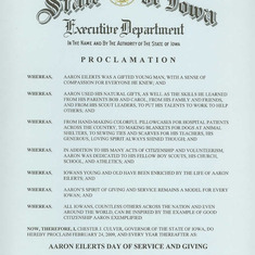 State Of Iowa Aaron Eilerts Day Proclamation