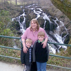 Ben, Caroline & Aaron at Swallow Falls near Betws-y-Coed in North Wales  -  March 2010