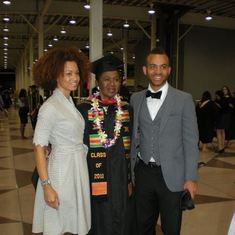 Adelaide receiving her MBA from Metropolitan College of New York, with her daughter Ramona and son Voltaire, June 2011
