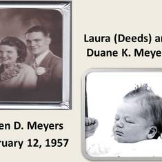 Laura and Duane and Al as a newborn baby.