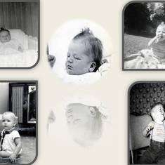 Al:  Newborn Center Photo 2/12/1957, Top Left 5 weeks old, Top Right 6 months old, Bottom Left 8 months old, Bottom Right 1 year old