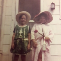 Halloween 1971 Lindenwold Granmoms back porch Anne & John