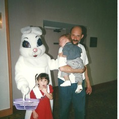 Baby Greg & Kayla with the Easter bunny & their Dad