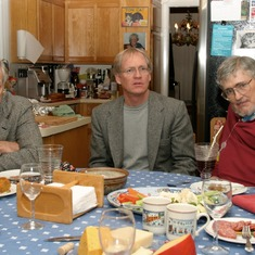 L:R  S. Boyd Eaton, M.D., Loren Cordain, Ph.D., and Tony at memorable dinner at Pat and Tony's home