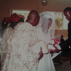Prof Standing as a father at Nike&Kayode wedding,nov,2005@Ecwa Chapel Ilorin