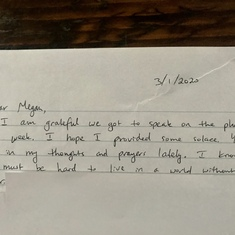 Sweet letter I received from Lyn's son, and our friend, Ross