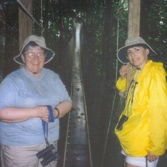 Carol and Celeste in the rainforest.