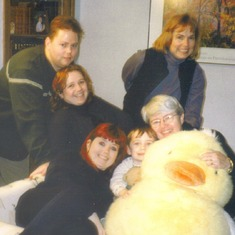 Carol, Celeste, Jennie, Emily, Ted and Conor (in the middle) with Daphne the giant duck (a gift from Grandma to Conor)