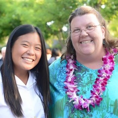 Ashley with her favorite English teacher, Ms. V., after her 8th grade Recognition ceremony in 2015.
