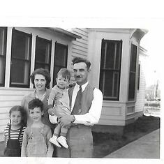 Chuck's family in about 1947. Chuck 8, Joyce 6 and Paul under 2. Plymouth, Nebraska.