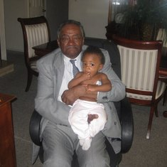Granddad with his great-granddaughter Madison