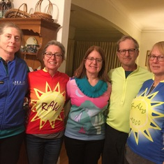 Chet's children wearing his signature biking jerseys. Stephanie, Julie, Anne, Paul and Mary.