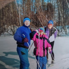 Stephanie, Sonia, and Chet skiing at Kathio SP, ~1999