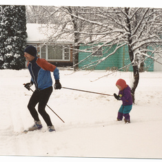 Grandpa and 3 year old Sonia ski training