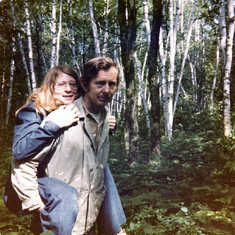 13 year old Stephanie and her Dad at the cabin
