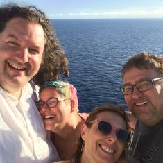 with friends on a writing cruise