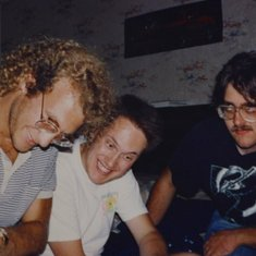 Scott, Robert and Chris deciding on Pizza in San Fran, 1990?