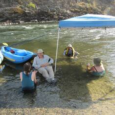 At the end of a fun day of rafting - Lower Fork of Salmon River, Idaho August 2013
