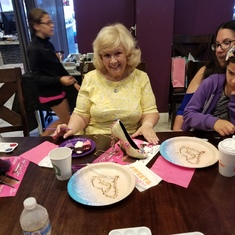 This was Cynthia at my bachelorette chocolate shoe painting party.
