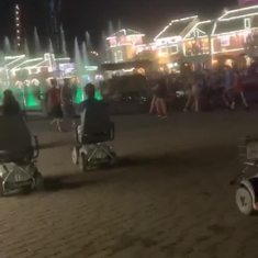 Riding on scooters at Kings Island 2019