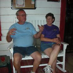 Dan and Joan on the porch of the Midas Bar. July 2007
