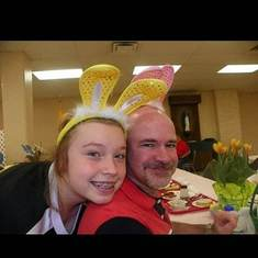 Me and my dad at Holy Family's Easter breakfast