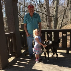 With granddaughter Ella and her pup Lacey at 7 Bridges Park.