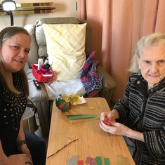 Suzanne and Denise making Christmas decorations 2019