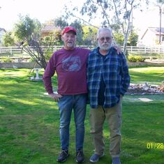 Don visits David, recuperating from broken shoulder, Ramona CA Jan 2020
