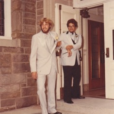 "Don and ""Otis"" at the back door to the church on his wedding day.  He wasn't having second thoughts!"