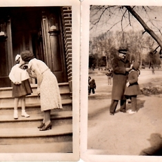 I believe the photo on left was her first day of school, getting a kiss from mom (rare?) and a loving look from dad, circa 1939-40, I'm guessing.