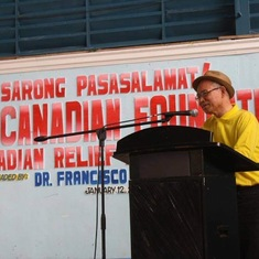 Dr Francisco Portugal giving message to the townspeople of Municipality of Milaor, Camarines Sur