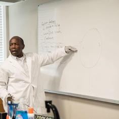 Dr James teaching at the Alabama School of Math and Science