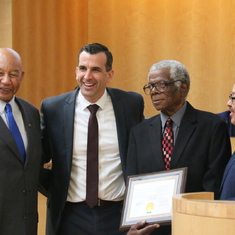 Eddie receiving honors from the City of San Jose. Mayor Sam Liccardo, next to Eddie, was a friend