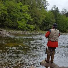 Ed and Allen Fishing the Loyalsock Creek. Sullivan Co. PA.