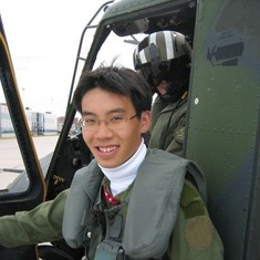 Eddie had a helicopter ride in The military base in Cold Lake, Alberta - part of his EE coop program.