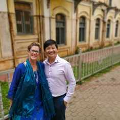 With Beth at Mysore Palace