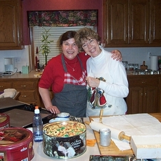12/25/02 -Emily & Debbie Cooley (Emily's sister) making Christmas cookies