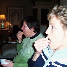 Enjoying popcorn and a movie -Christmas 2007