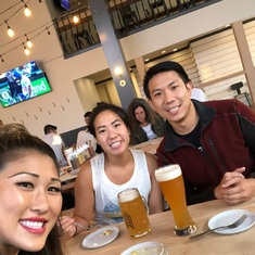 Erica, Henry, and Heidi Lee getting dinner in San Mateo, CA (Aug. 2018)