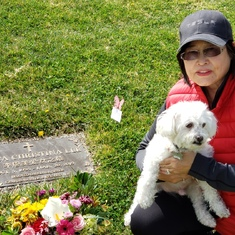 Mom and Ricky visiting you at Forest Lawn today, March 20, 2021