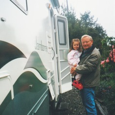 Ernie with Maddie and their new 1999 Jamboree motorhome
