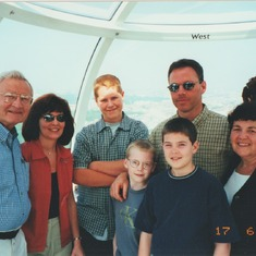 Ernie, JoAnn and family in London Eye, 2000