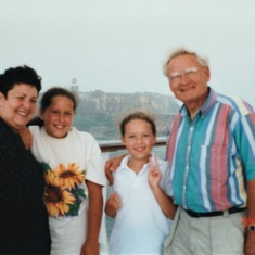 On a cruise with his granddaughters, Rachelle and Alise