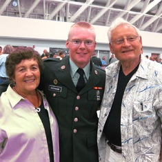 Ernie and JoAnn with grandson, Nathan who served 4 years in the  US Army starting in 2009