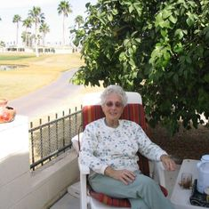 Estelle welcomed her guests on her Sun Bird Patio