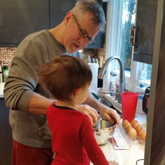 Making breakfast with his Grandson.