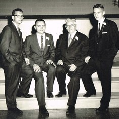 Fran with father and brothers, 1960