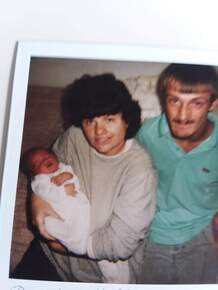 Pic of me and Frankie holding our son in my arms when he was born Dec 1 1991