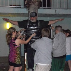 Mr. C getting taped to a tree in Florida (2010/2011 season)